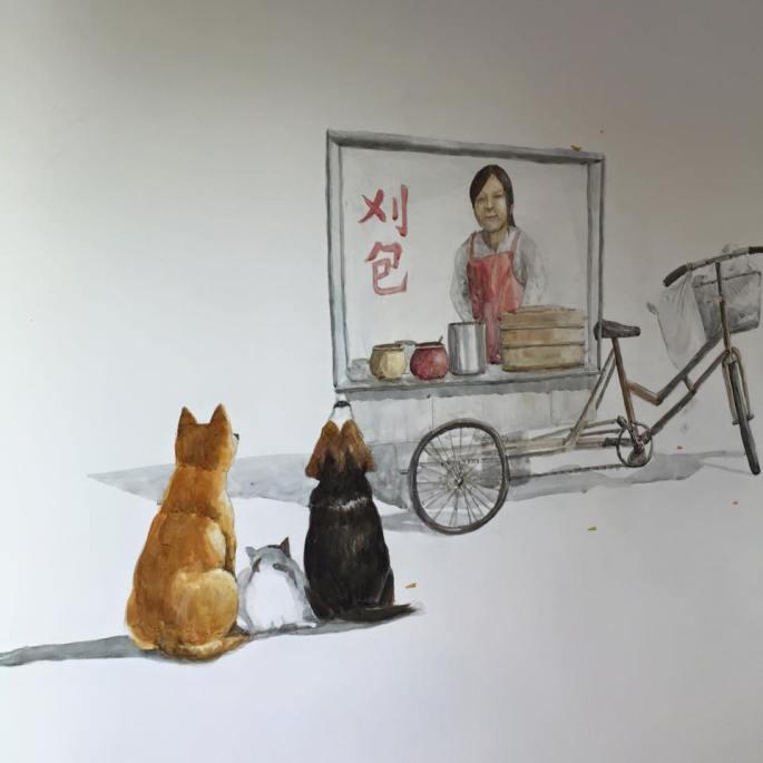 包包bunsbao店內可以看到訴說刈包傳統的插畫(圖/包包bunsbao FB)
